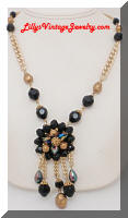 Vintage Black Gold Beads Dangle Pendant Necklace