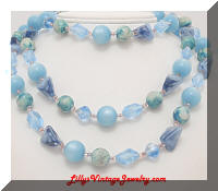 52 in long blue bead necklace