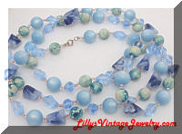 long 52 inch blue beaded necklace