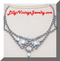 Vintage Blue Rhinestones Fringe Collar Necklace