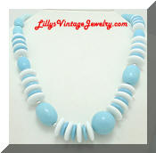 Blue White Plastic Beads Chunky Vintage Necklace