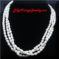 3 Strands Circle Cultured Pearls or Ringed Pearls Necklace