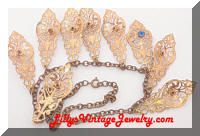 Vintage Golden Filigree Dangles Rhinestones Fringe Necklace