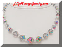smokey grey ab crystals necklace