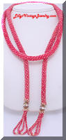 AB Roundels Red Seed Beads Lariat Tassel Necklace