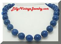 Vintage Navy Blue Beaded Necklace