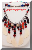 Vintage Middle Eastern Glass Beads Statement Necklace