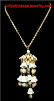 Vintage Milk Glass Bell Flowers Pendant Necklace