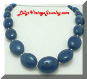 Vintage Navy Blue Flat Beads Necklace