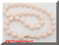 Vintage Pale Pink Crackle Beads Necklace