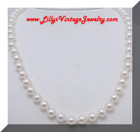 Classic Vintage Glass faux Pearls Hand Knotted Necklace