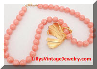Pink Glass Beads Enamel Necklace with Enhancement