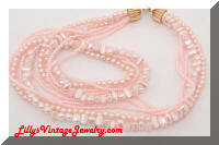 Multi Strand Pink faux Pearls Necklace