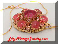Vintage Art Glass Pink Cabs Rhinestones Locket Necklace