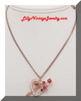 Rhinestones Enamel rose heart necklace