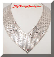 Vintage Silver Fluid Mesh Kerchief Scarf Necklace