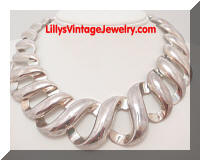 Heavy Silver tone S Links Collar Necklace