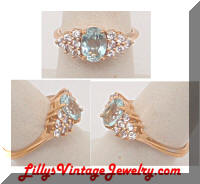 Aqua Rhinestones Golden Cocktail Ring