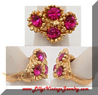 Vintage Bright Pink Rhinestones Cocktail Ring