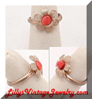 Vintage Silver Flower Coral Ring
