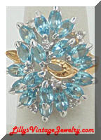 Blue Rhinestones Large Cocktail Contemporary Ring