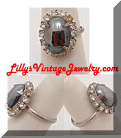 Vintage Hematite Rhinestones Cocktail Ring