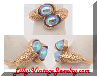Vintage Iridescent Blue Cabs Dinner Ring