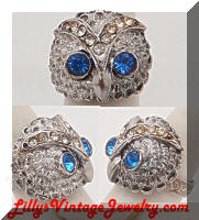Vintage Rhinestones Owl Cocktail Ring