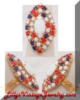 Opaque White Red Blue Rhinestones Cocktail Ring