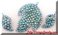 Vintage AB Blue Leaves Brooch and Earrings Set