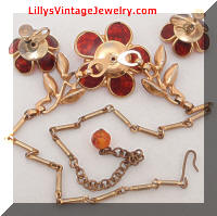 Vintage Fall Brown Floral Topaz Rhinestones Necklace Earrings Set