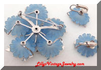 Vintage CORO Blue Flowers Rhinestones Brooch Earrings Set