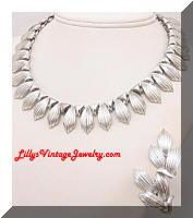 Vintage CORO Silver Fringe Necklace Earrings Set