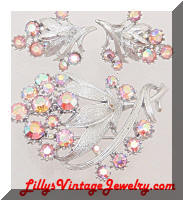 Vintage CORO AB Rhinestones Floral Silver Brooch Earrings Set