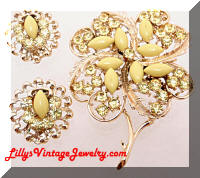 Vintage CORO Canada Yellow Floral Brooch Earrings Set