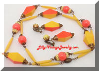 Deco Yellow Orange Plastic Beads Enamel Necklace Earrings Set