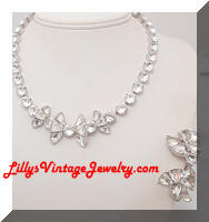 Vintage EISENBERG Rhinestones Necklace Earrings Set