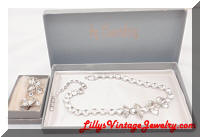 Vintage EISENBERG Rhinestones Necklace Earrings Set Original Boxes