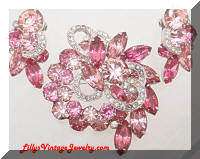 Vintage EISENBERG Pink Rhinestones Brooch Earrings Set