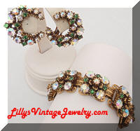 Vintage FLORENZA AB Rhinestones Golden Bracelet Earrings Set