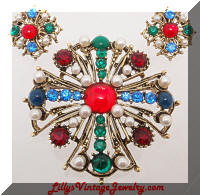 Vintage Gem Colored Cabs Maltese Cross Brooch Earrings Set