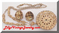 GERMANY Vintage Pink Red Filigree Pendant Necklace Earrings Set