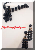 Vintage GERMANY Black Glass Beads Necklace Earrings Set