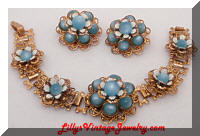 Vintage Golden Blue Moonglow Enamel Flowers Bracelet Earrings Set