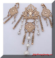 Antiqued Gold tone faux Pearls Dangling Brooch Earrings Set