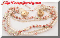 HONG KONG Multi Strands Beads Pearls Necklace Earrings Set