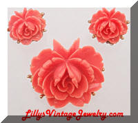 Vintage J.J. Coral Roses Brooch Earrings Set