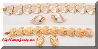 Vintage JUDY LEE Brushed Silver tone Golden Bracelet Earrings Set