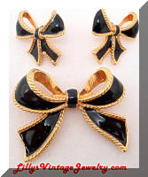 Kenneth J LANE for Avon Black Bows Enhancer Earrings Set