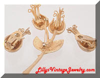 Vintage LEDO 1963 Golden Flowers Brooch Earrings Set